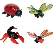 BrainStorm Looking Glass Miniature Glass Figurines, 4-Pack, Ladybug/Dragonfly/Scorpion/Damselfly