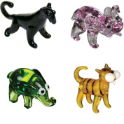 BrainStorm Looking Glass Miniature Glass Figurines, 4-Pack, Blackie Panther/P-Nut Elephant/Ellie Elephant/Tommy Tiger