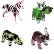BrainStorm Looking Glass Miniature Glass Figurines, 4-Pack, Zebra/Hippo/Rhino/Elephant