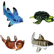 BrainStorm Looking Glass Miniature Glass Figurines, 4-Pack, Tip Shark/Sea Turtle/Otter/Great White Shark