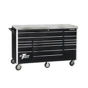 180cm 17 Drawer Triple Bank Professional Roller Cabinet in Black