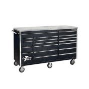 180cm 18 Drawer Professional Triple Bank Roller Cabinet in Black