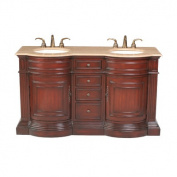 Catherine 160cm Double Bathroom Vanity in Polished Cherry Red with Marble Top