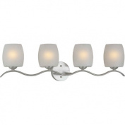 Four Light Vanity Light with White Linen Shade in Brushed Nickel