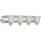 Four Light Vanity Light with Satin Opal Shade in Brushed Nickel