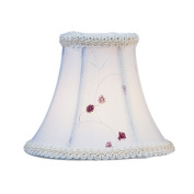 Embroidered Floral Silk Bell Clip Chandelier Shade in White