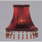 Bell Clip Silk Chandelier Shade with Amber Beads in Red