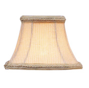 Pinstripe Square Clip Chandelier Shade with Fancy Trim in Cream