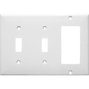 Morris Products 3 Gang 2 Toggle 1 GFCI Lexan Wall Plates in White