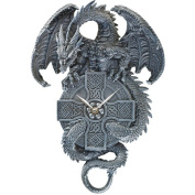The Celtic Timekeeper Sculptural Dragon Wall Clock in Grey Stone