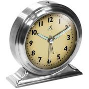Brushed Nickel Metal Alarm Clock With Cream Face