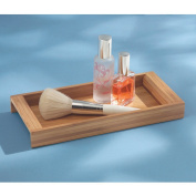InterDesign Formbu Vanity, ECO Cosmetic Organiser Tray for Makeup, Beauty Products, Jewellery - Small, Natural Bamboo