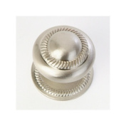 Roped Cabinet Knob with Back Plate in Satin Nickel