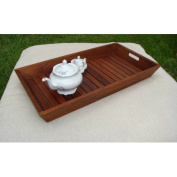 Large Solid Teak Amenities Serving Tray Caddy with Handles, Indoor or Outdoor