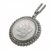 Morgan Dollar Silvertone Bezel Pendant