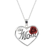 """Sterling Silver """"#1 Mom"""" with Rose Heart Pendant, 46cm"""
