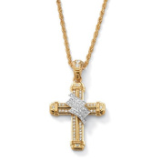 Men's Crystal Wrapped Cross Pendant and Chain in Yellow Gold Tone 60cm