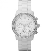 Women's Classic White Ceramic Watch with Crystal Chronograph Dial