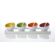 Yedi White Ceramic Contemporary Sauce Dish Tray with Spoon, Set of 4