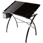 Martin Dezign Line Drawing Table W/Black Glass Top-Black