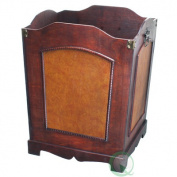 Quickway Imports QI003045 Antique Wooden Waste Can - Bin with Handle
