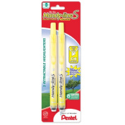 Highlighter,Retract.,Refillable,Chisel Tip,2/PK,Yellow