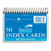 Wirebound Index Cards,13cm x8.9cm ,50 SH,Ruled,Perforated,White