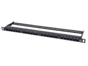 Monoprice 110033 Space Saver 48cm Half-U UTP 24 Ports Cat6A Patch Panel Dual IDC