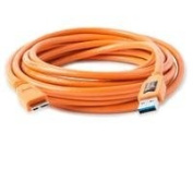 Tether Tools TetherPro 15' USB 3.0 Male (Type A) to Micro (Type B) 5-Pin Cable, Hi-Visibility Orange