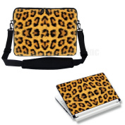 Meffort Inc 17 44cm Laptop Carrying Sleeve Bag Case with Hidden Handle & Adjustable Shoulder Strap with Matching Skin Sticker Deal - Leopard Prints Design