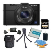 Sony DSC-RX100M II DSC-RX100M2 DSC-RX100MII, RX100M2 RX100MII DSC-RX100M II Cyber-shot Digital Still Camera 20.2MP, Black Bundle with 32GB Class 10 High Speed Card, Spare Battery, SD Card Reader, Table top Tripod, Padded Case, and Lens Cleaning Kit