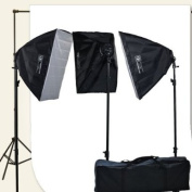 ePhoto 10 X 20 Large White Muslin Support Stands 3 Point Continuous Video Photography Studio Hair Lighting Kit H9004SB-1020W