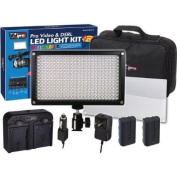 Vidpro LED-312 9pc VariColor Photo/Video LED Light Kit with 2 Batteries, Charger, Diffuser & Case