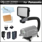 10-Piece Pro 120 LED Dimmable On-Camera LED Video Light Kit + Pro Camcorder Action Stabilising Handle For Panasonic HC-X900M, HC-X900, HC-X800, V700M, HC-V700M, HC-V500, V500M, HC-V100, HC-V100M, HC-V10, HC-X920, HC-V720, HC-V520, HC-V110 HD Camcorder