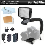 10-Piece Pro 120 LED Dimmable On-Camera LED Video Light Kit with Battery, Charger, Diffusers & Case + Action Stabilising Handle For Fuji Fujifilm FinePix HS50EXR, HS35EXR, HS30EXR, HS25EXR, HS20EXR, SL1000, SL300, S8200, S6800, S4800, S4500, S4200, X-M1