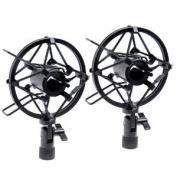 2sets Black Handheld Condenser Microphone Shock Mount Clip Mic Shockmount Dynamic Studio Holder
