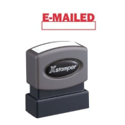 Xstamper Title Message Stamp, E-MAILED, Pre-Inked/Re-Inkable, Red