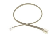 RJ11 Straight Modular Telephone Cable, Silver, 0.6m