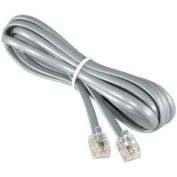 RJ11 Modular Telephone Cable Reversed For Voice, Silver, 14ft