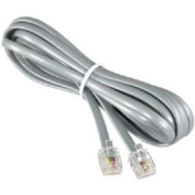 RJ11 Straight Modular Telephone Cable, Silver, 4.3m