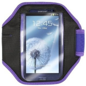 Fitness Pal for Samsung Galaxy S3 (i9300) Purple & Black Sports Armband - High Quality
