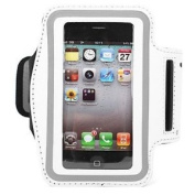 SKY Cover White Washable Sports Armband Case for Iphone 4 and 4s with Key Storage Slot