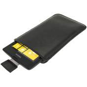 iGadgitz Black Leather Pouch Case Cover for Nokia Lumia 520 Windows Smartphone Mobile Phone