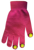 Boss Tech Products, Inc. BTP-GLV-SMLPNK Touch Screen Knit Gloves with Conductive Fingertips for All Touch Screen Electronic Devices - Retail Packaging - Pink/Yellow