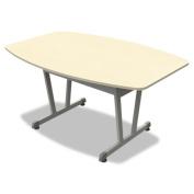 Linea Italia TR724OAT Trento Line Conference Table, 59w X 39-1/2d X 29-1/2h, Oatmeal/metallic Grey