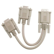 eForCity - Compatible With VGA 1 Male to 2 Female Video Splitter Cable - Beige