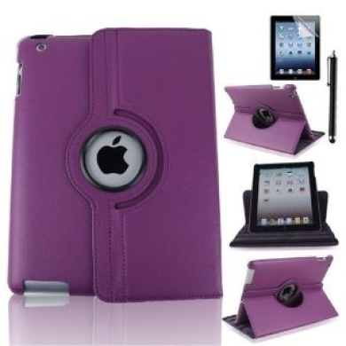 Case-online For Apple iPad 2/3/4 Luxury Pu Leather Flip Folio Stand Rotating Magnetic Cover Smart Case+Stylus+Protector - Purple