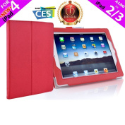 iPearl Leather Carrying Folia Cover Case for iPad 4 (Retina display & Lightning connector), iPad 3 & iPad 2 with 30-pin connector, with Built-in Stand, hand strap, sleep/wakeup function and FREE Touch Screen Stylus Pen - RED