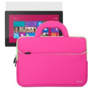 BIRUGEAR Hot Pink Handle Neoprene Travel Sleeve Case Bag with Screen Protector for Microsoft Surface RT / Surface 2 / Surface Pro / Surface Pro 2 27cm Windows Tablet