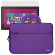 BIRUGEAR Purple Handle Neoprene Travel Sleeve Case Bag with Screen Protector for Microsoft Surface RT / Surface 2 / Surface Pro / Surface Pro 2 27cm Windows Tablet